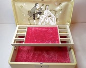1950s Jewelry Box - Tan Texol Outer with Flowers, Victorian Couple Inside with Pink Velvet Lining, Double Tiered - Farrington