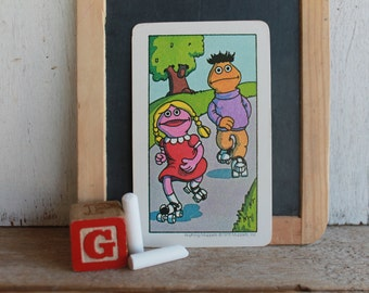 Vintage Muppets Flash Card // 1978 Muppets // TWO // Betty Lou & Boy Skating