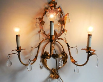 Vintage light sconce  Italy Florentine gold 3 arm socket Tole lamp Glass prisms