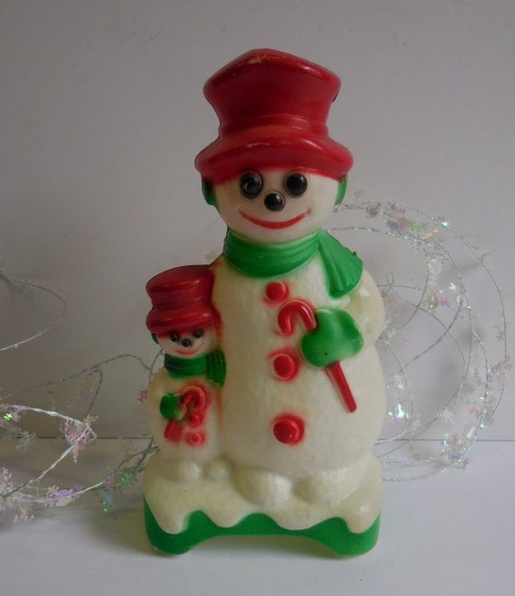 Vintage Snowman Blow Mold Christmas Light Up Double Sided Two
