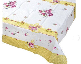 Shabby Chic Floral Paper Tablecloth 6ft X4ft