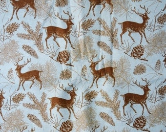 Realistic deer with pinecone and pine branches on a teal background flannel pajama pants lounge dorm made to order your choice size XS - 2X