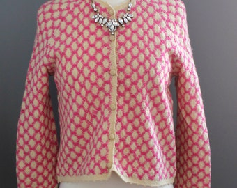 Cropped Pink and Ecru Geometric Crochet Jacket - Size Small