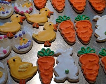 Easter Sugar Cookies, Baby Chick, Easter Bunny, Carrot, Easter Egg, Homemade, Edible Gift, Party Favor, Food, Assorted