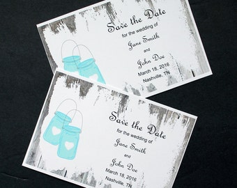 Printable Mason Jar Save the Date Cards - Customizable File Sent via Email