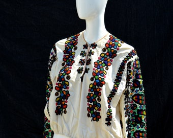 Vintage 60's hungarian folk dance peasant blouse  top embroidered hippie boho sM handmade by thekaliman