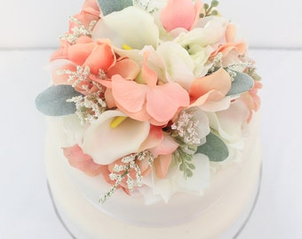 Wedding Cake Topper - Coral, White Hydrangea, White Calla Lily, Lambs Ear, Silk Flower Cake Topper, Wedding Cake Flowers, Fake Cake Topper