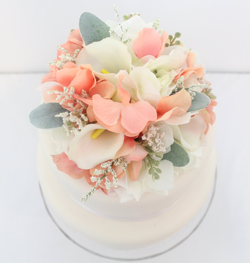 Wedding White Hydrangea: Wedding Cake Topper Coral White Hydrangea White Calla