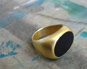 Signet Ring , Black Onyx Signet Ring , Statement Ring  , Gold Signet Ring , Onyx Statement Ring , Unisex Signet Ring ,