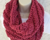 Chunky Spiral Rib Cowl in Raspberry (Purplish Pink), Cranberry (Red), Fig (Purple), or Claret (Purplish Red) READY TO SHIP