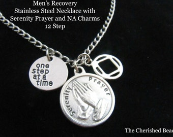 Men's Recovery Stainless Steel Necklace with Serenity Prayer Charm and NA Charms - 12 Step