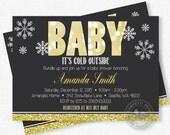 Winter Baby Shower Invitation, Baby It's Cold Outside Baby Shower Invitation, Snowflake Baby Shower Invitation, Gold Glitter