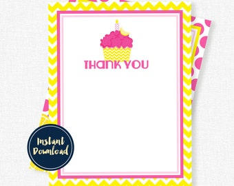 Pink Lemonade Thank You Cards, Cupcake Party, Birthday Thank You Cards, Pink Lemonade Cupcake Printable INSTANT DOWNLOAD