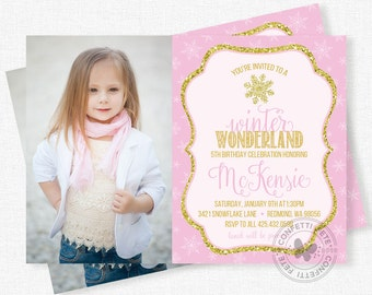 Snowflake Birthday Invitation, Pink and Gold Party Invitation, Girl Photo Invitation, Winter Birthday Invitation
