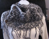 Hand crochet infinity scarf with fringe