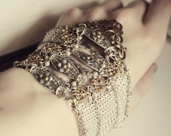 SALE o Gold, Silver, and Crystal Chainmaille Hand Bracelet - Cuff - Glove - Brass - Armor - Fantasy - Medieval - Cosplay - Costume - Unique