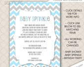 Blue Baby Sprinkle invitations, boy baby shower invites, FREE SHIPPING digital or printed, blue gray chevron, blue grey sprinkle invites
