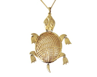 Vintage 70s Jointed Turtle Necklace by Alan - Gold tone - Statement Large