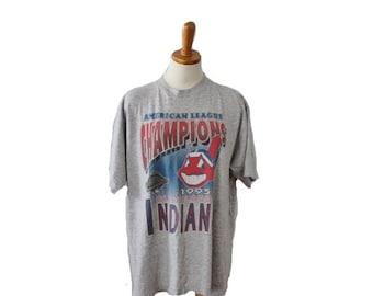 BLOWOUT 40% off sale Vintage 1995 Cleveland Indians Baseball Tee Shirt - Faded Worn - Men Women XL, B Kul