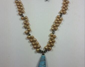 Beautiful lampwork focal Blue Sea bead jewelry set