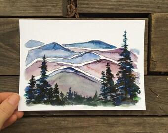"Blue Ridge Mountains North Carolina  watercolor National Park giclee 5x7"" kat ryalls 2015"