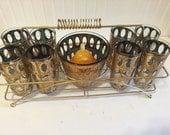 MID CENTURY GLASSWARE with Ice Bucket and Brass Rack Barware Mid Century Modern Hollywood Regency at Modern Logic