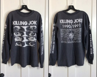1990 1991 Extremities Tour Killing Joke Rock Band Long Sleeve T-shirt size L printed sleeves Grunge Concert