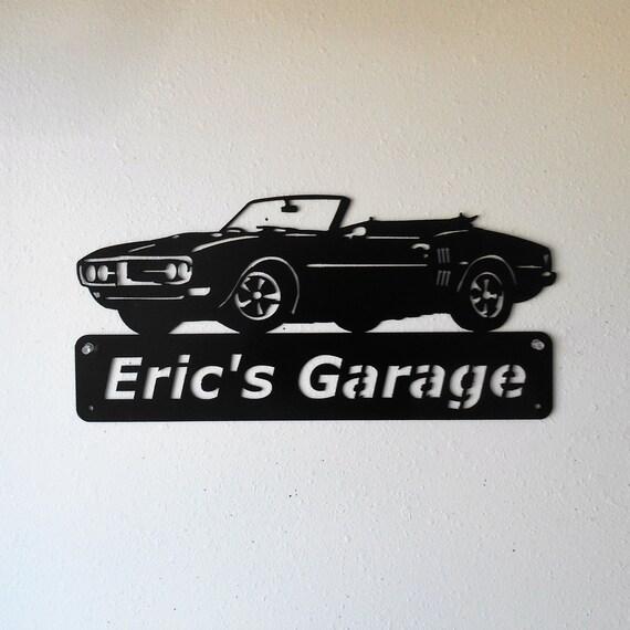 Personalized Classic 1968 Pontiac Firebird Convertible Man Cave Metal Sign Garage Art Satin Black