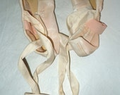 Pair Vintage pink satin Ballerina Toe Shoes signed