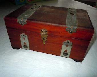 Vintage wooden box treasure chest