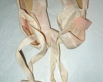 Pair Vintage pink satin Ballerina Toe Shoes signed