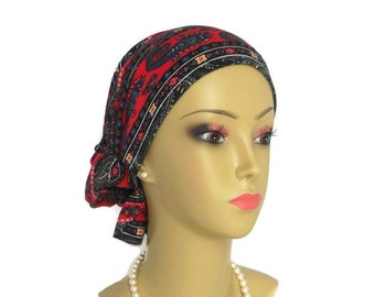 Hair Snood Multi-color Paisley On Red Turban | Teen Adult Volumizer Chemo Headwear | Hair Covering | Tichel & Mitpachat Head Wrap Reg-XL