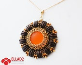 Tutorial Lulu Pendant - Beading Tutorial, Beading Pattern, Jewelry Tutorial, Instant download, Ellad2