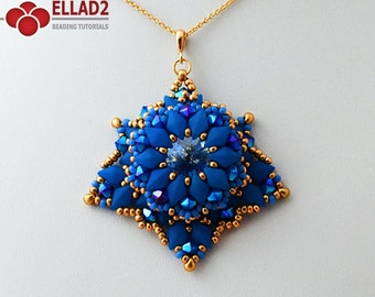 Tutorial Davina Pendant-Beading pattern,Beading Tutorial with Diamonduo beads, Instant download