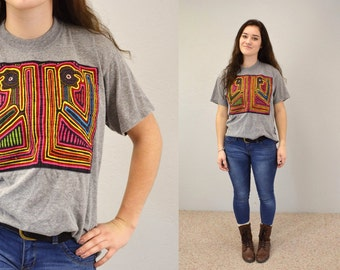 Vintage t-shirt ethnic hipster tee indie gray bright design medium tee native american grey 90s grunge random colorful