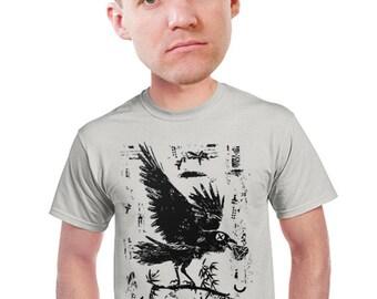 crow t-shirt cool artsy raven bird drawing mens bird watchers t-shirt Audubon block print Bird lovers animal design t-shirt  s-4xl