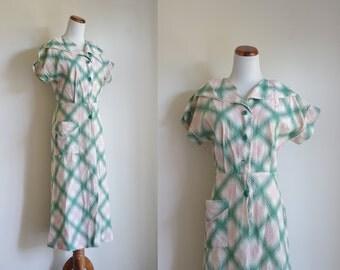 Vintage 40s 50s House Dress, Plaid Dress, Shirtwaist Dress, Rockabilly House Dress, Pink and Green Dress, Small Medium AS IS