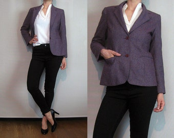 70s 80s WINE TWEED WOOL Vintage Aubergine Gray Blend Fitted Blazer Riding Jacket Classic xs Small 1970s 1980s
