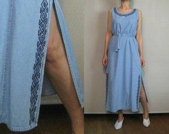 80s EMBROIDERED CUTOUT Vintage Light Faded Blue Cotton Denim Belted Aztec Harlequin Southwest Cut Out Chambray Maxi Dress xs Small s/m 1980s