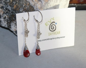 Valentine's Day Red Ruby & Sterling Silver Charm earrings by EvyDaywear, one of a kind designer handcrafted beaded jewelry