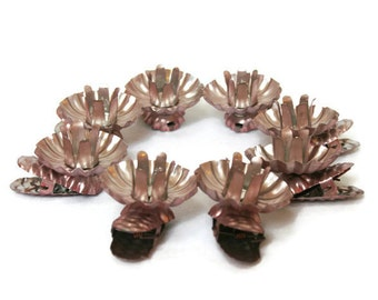 Vintage Christmas Tree Candle Holders / Clip On Pink Tree Decorations for Mid-Century Retro Holiday Decor