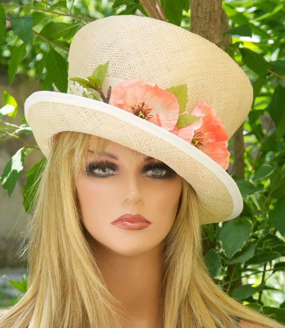 Hat on Sale. Wedding Hat Church Hat, Women's Summer Straw Hat, Tea Party Hat Garden Party Hat,Hat with flowers Formal hat, Dressy event hat,