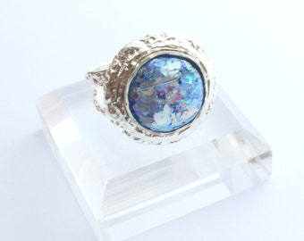 Stunning New 925 Sterling Silver Ancient Roman Glass Adjustable  Ring