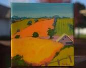 "Acrylic landscape painting - ""Mini Iowa 12"" - 6"" x 6"""
