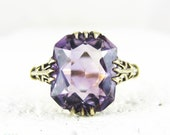 Amethyst & Yellow Gold Vintage Ring, Large Cushion Shape Purple Amethyst in Scrolling 9 Carat Yellow Gold Scroll Setting.