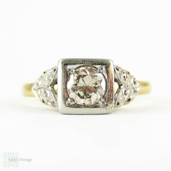 Art Deco Engagement Ring Early Round Brilliant Cut Diamond in