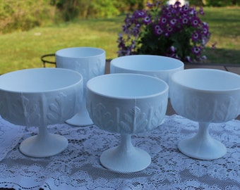 Vintage Five Piece Set, FTD Milk Glass Footed Compotes, Wedding Decor and Vases
