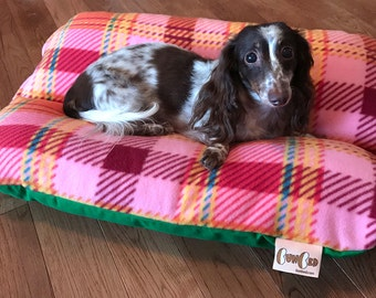 RETRO 70s Pink & Green Bunbed, Dachshund Dog Bed, Fleece Dog Bed, Small Dog Bed - Retro Dog Bed, Burrow Bed, Bun Bed