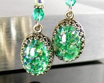 Peridot Emerald Green Earrings 14k Gold Fill Hook Earrings Emerald Green Glass Drop Earrings May Birthstone Emerald Earrings Vintage Jewelry