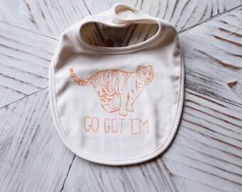 Organic Baby Bib - Screen Printed Baby Clothes - Go Get Em Tiger - American Apparel Bib - Infant Bib - Organic Baby Clothes - Cotton Bib